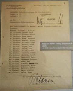 Deutsche Gründlichkeit. Liste der SS-Männer, die die erste Exekution in Auschwitz durchgeführt haben