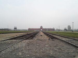 Die ehem. Rampe. Hier endeten die Transporte, nachdem sie das Hauptportal von Birkenau II passiert hatten. Es folgte die Selektion. Alte und Kinder wurden direkt der Vernichtung zugeführt.